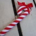 """""""Candy"""" -cukorpálca karácsonyfadísz, Dekoráció, Dísz, Piros-fehér textilből készült cukorpálca a karácsonyfára. Mérete: 20x6 cm., Meska"""