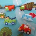 Autópálya kisautókkal (kék), Baba-mama-gyerek, Játék, Gyerekszoba, Készségfejlesztő játék, Autópálya mintájú textilből készült játszószőnyeg 10 db textil kisautóval, amelyek a hátoldalra varr..., Meska