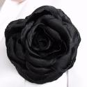 Fekete rózsa bross, Ékszer, Bross, kitűző, Evaczing kérésére készült ez a kitűző. Anyaga fekete szatén, átmérője 9,5 cm., Meska