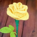 horgolt sárga rózsa, Dekoráció, Otthon, lakberendezés, Csokor, Dísz, Rózsa mely soha nem hervad el és tetszés szerint alakítható :) Horgolt rózsaszál, a rózsa fe..., Meska