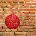 Piros zsinór lámpa / mennyezeti lámpa, Dekoráció, Otthon, lakberendezés, Lámpa, Fali-, mennyezeti lámpa, Piros jutazsinórból készített lámpabura, átmérője 30 cm.  Piros színű elektromos szerelvény tartozik..., Meska