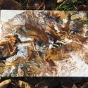 'November mood' fluid art akril festmény, Művészet, Festmény, Akril, Festészet, Arany-barna-fekete-fehér fluid art technikával készülő akril festmény! Tökéletesen feldob minden fa..., Meska