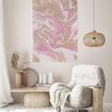 Pastel dream fluid art akril festmény, Művészet, Festmény, Akril, Festészet, Fehér-arany-rózsaszín-bézs színű fluid art akril festmény, igazi absztrakt. Tökéletesen feldob mind..., Meska