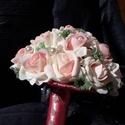 """""""Rózsaszín álom"""" Örök-csokor, Dekoráció, Esküvő, Csokor, Esküvői csokor, Virágkötés, A rózsaszín árnyalatai a fehérrel és a zölddel kiegészítve visszahozza a gyermekkor bájosságát, tis..., Meska"""