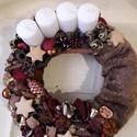 Szőrmés adventi koszorú, Dekoráció, Karácsonyi, adventi apróságok, Ünnepi dekoráció, Karácsonyi dekoráció, Virágkötés, Ez a koszorú egy 30-as szalma alapra készült. Az alapot először bevontam egy barnás árnyalatú szőrm..., Meska