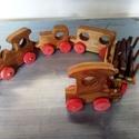 vonat, Dekoráció, Játék, Fajáték, Készségfejlesztő játék, Famegmunkálás, Festett tárgyak,  fából készült vonat, Bioolajjal van színezve. Gondossággal készült a gyermekek   örömére .  Mérete..., Meska