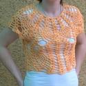 Ananászmintás crop top, Ruha, divat, cipő, Női ruha, Felsőrész, póló, Egy igazán trendi darab. Ananászmintás rövid felső (crop top), narancsos árnyalatú, kőmosott hatású ..., Meska