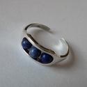 Lábék, Ékszer, Lábgyűrű, 925°, sterling ezüstből készített lábgyűrű 3 darab lápisz lazuli golyócskával, amelyek forognak a gy..., Meska