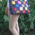 XXXL táska: Farmer-bőr-mozaik, Táska, Válltáska, oldaltáska, Szatyor, Hatalmas nagyra sikerült legújabb bőrtáskám. Farmer és színes bőrkockákból készült. Hát..., Meska