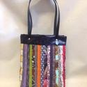 Textil+textilbőr, Táska, Válltáska, oldaltáska, Szatyor, Egyedi, mutatós darab!  Színes, akár a Te egyéniséged! :-)  A táska eleje különböző textil csíkokból..., Meska