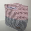 Horgolt táska szürke, világos rózsaszín, zsinórfonal, Szürke és világos rózsaszín zsinórfonalból ...