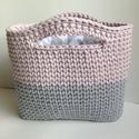 Horgolt táska szürke-rózsaszín, Szürke és világos rózsaszín zsinórfonalból ...