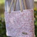 Világos rózsaszín nyári táska, Vastag pamut pólófonalból készült ez a közep...