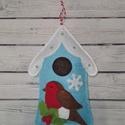 Téli madárházikó ajtódísz, Dekoráció, Otthon, lakberendezés, Dísz, Ajtódísz, kopogtató, Eladó a képen látható téli madárházikó ajtódísz.  Még tart a tél, még lakásod vagy a g..., Meska