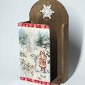 Papírzsebkendő tartó, Otthon, lakberendezés, Tárolóeszköz, 25x14x7 cm méretű téli mintázatú zsebkendő tartó.  , Meska