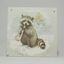 Téli állatos fali képek, Otthon, lakberendezés, Falikép, 16x16 cm-es téli fali képek állatokkal., Meska