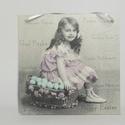 Kislányos vintage stílusú fali képek, Otthon, lakberendezés, Falikép, Fali képek 16x16 cm-es méretben., Meska