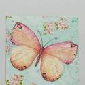 Tavaszi pillangós fali kép, Otthon, lakberendezés, Falikép, Fali kép 12x12 cm-es méretben.  Decoupage technikával készült.  Köszönöm, hogy benéztél ho..., Meska