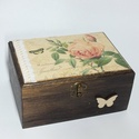 Virág mintás tároló doboz szalaggal, Otthon, lakberendezés, Tárolóeszköz, Doboz, A doboz mérete: 18x14x9 cm, Meska