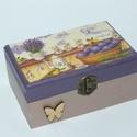 Levendula mintázatú dobozka, Otthon, lakberendezés, Anyák napja, Tárolóeszköz, Doboz, A doboz mérete: 15,5x10x7 cm, Meska