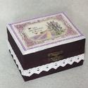 Levendulás dobozka, Otthon, lakberendezés, Tárolóeszköz, Doboz, Levendulás dobozka. Mérete 10x8x6 cm, Meska