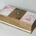 3 rekezes doboz csipkével, Ballagás, Esküvő, Dekoráció, Otthon, lakberendezés, Szélesség: 14 cm Magasság: 9,5 cm Hosszúság: 30 cm  Cseresznyevirág mintákkal, csipkével és..., Meska