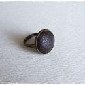 Sötétbarna bőr gyűrű, Ékszer, Gyűrű, Sötétbarna bőrrel díszített gyűrű Mérete állítható , a foglalat átmérője 16mm  , Meska