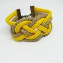Barna -sárga zsinór karkötő, Ékszer, Karkötő, Barna -sárga színű zsinór karkötő A karkötő teljes kerülete : 16 cm + lánchosszabbító  , Meska