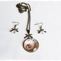 üveglencsés  nyaklánc fülbevaló szett, Ékszer, Fülbevaló, mellközépig érő nyaklánc medállal , melynek foglalat mérete 25 mm, akasztós üveggyönggyel ..., Meska