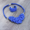 Kék zsinór nyaklánc karkötő szett ., Ékszer, Esküvő, Ékszerszett, Esküvői ékszer, Kék színű zsinór nyaklánc karkötő szett. A nyaklánc szépen mellkasra simuló méretű, áll..., Meska