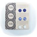 Kék-fehér fülbevaló szett , Ékszer, Fülbevaló, Ékszerkészítés, Lila-szürke fülbevaló szett A szett 3 pár fülbevalót tartalmaz A fülbevaló 12 mm átmérőjű, Meska