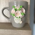Virág vázában anyák napjára, Konyhafelszerelés, Bögre, csésze, Gyurma, virágos bögre eladó, akik szeretik a süthető gyurmával különlegessé varázsolt bögréket.  Anyák napj..., Meska