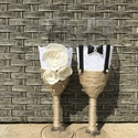 Esküvői pezsgős pohár 5, Esküvő, Esküvői dekoráció, Nászajándék, Gyurma, Egyedi pezsgős pohárból ihat az ifjú pár a nagy napon,akár ajándékba vagy csak maguknak is kedves m..., Meska
