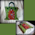Zöld-piros virágos táska, Zöld gyapjúkabátból álmodtam ezt a kézitásk...
