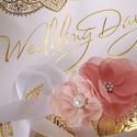 esküvői karkötő, koszorúslány csuklódísz, virág rózsaszín, Esküvő, Hajdísz, ruhadísz, Menyasszonyi ruha, Esküvői ékszer, Varrás, esküvői csuklódísz; koszorúslány csuklódísz; esküvői karkötő  A csuklódísz 7 x 9 cm méretű. Zsorzse..., Meska
