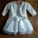 Alkalmi ,keresztelő kislány ruha + boleró  több méretben , Baba-mama-gyerek, Ruha, divat, cipő, Gyerekruha, Baba (0-1év),   Alkalmi-   keresztelő kislány ruha + boleró Felső része   csipke , szoknya rész tüll- muszlin    R..., Meska