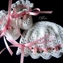 Horgolt baba sapka+ cipő szett 0-3 hó , Baba-mama-gyerek, Ruha, divat, cipő, Hajbavaló, Hajpánt, Horgolás, Kézzel horgolt baba sapka + cipő szett keresztelőre, vagy ajándéknak is kiváló választás   Rendelhe..., Meska