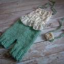 Kötött   nadrág + fejpánt szett  0-2 hónapos méret , Baba-mama-gyerek, Ruha, divat, cipő, Gyerekruha, Baba (0-1év), Kötés, Kézzel kötött  újszülött nadrág + fejpánt szett- fotózásra  Mérete : 56- os (0-2 ho)  Anyaga: baba ..., Meska