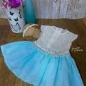 Alkalmi ,keresztelő kislány ruha+ fejpánt  74-es méret, Baba-mama-gyerek, Ruha, divat, cipő, Gyerekruha, Baba (0-1év),   Alkalmi-   keresztelő kislány ruha+ fejpánt szett Felső része   csipke , szoknya rész tüll-..., Meska