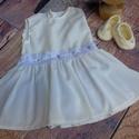 Alkalmi ,keresztelő kislány ruha cipővel 68-as méret, Baba-mama-gyerek, Ruha, divat, cipő, Gyerekruha, Baba (0-1év),   Alkalmi-   keresztelő kislány ruha+cipő szett  Anyaga:  tüll- muszlin    Színe : tört fehér..., Meska