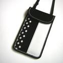 Nyakbaakasztható mobil tok  telefontok fekete fehér pöttyös, Táska, Pénztárca, tok, tárca, Mobiltok, Varrás, Mindenmás, Egyedi,igényesen elkészített mobiltartó. Tökéletesen illeszkedik az iphone 6 plus, iPhone 7 plus, i..., Meska