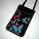 Állíthatópántos telefontok  XL mobiltartó nyakba akasztható 2in1 kistáska pillangós lepkés, Egyedi, igényesen elkészített mobiltartó, tele...