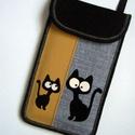 Rendelhető állítható pántos mobiltok  Cicás kistáska fekete-szürke-sárga, Egyedi,igényesen elkészített mobiltartó, telef...