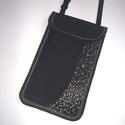 Elegáns Mobil Tok állítható pánttal  XL telefon tartó  oldaltáska iPhone kistáska fekete-ezüst-bézs, Egyedi,igényesen elkészített mobiltartó, telef...