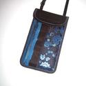 Mobiltok  Plus-os méretű telefonokhoz állítható pántos mini oldaltáska kék-fekete, Egyedi, igényesen elkészített mobiltartó, tele...
