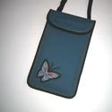 Mobiltok állítható pánttal XL telefon tartó türkiz lepkés, Egyedi, igényesen elkészített mobiltartó. Tök...