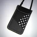 Állítható pántos mobil tok  Plus-os méretű telefonokhoz  fekete-fehér pöttyös, Egyedi,igényesen elkészített mobiltartó, telef...