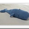 Kék Bálna - horgolt játék, Baba-mama-gyerek, Játék, Horgolás, Békésen szeli az óceán habjait ez a kék bálna és örömmel csatlakozna Hozzád!  Puha pamutfonalból ho..., Meska
