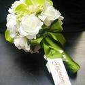Kis csokor, köszönő,dobó, Esküvő, Esküvői csokor, Virágkötés, A csokor habrózsából készült, 16-18 cm átmérőjű . Megfelel dobó csokornak, köszönő csokornak az örö..., Meska
