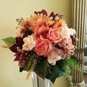 Őszies csokor, menyasszonynak, Esküvő, Esküvői csokor, Virágkötés, Ezt a csokrot bordó amarylliszból,gerberaból,rózsából,kisebb virágból,sok árnyalatú levélből és bog..., Meska